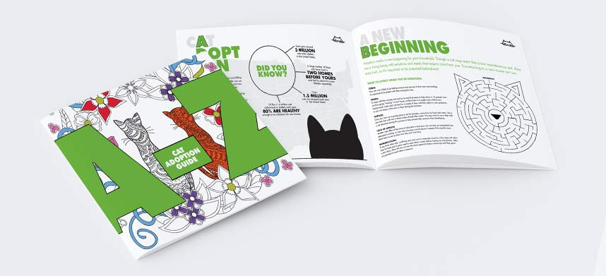 World's Best Cat Litter A to Z Adoption Guide, cover image and booklet opened to show pages A and B